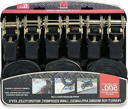 Mann Ratchet Tie Downs Straps 6-Pack with S-Hooks 1-Inch x 1