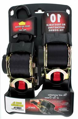 """Retractable Ratcheting Tie-Down Straps 2 Pack 1200 LB Cap 1"""""""