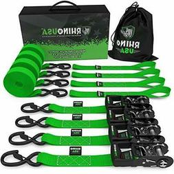 RHINO USA Ratchet Straps 4-Pack Motorcycle Tie Down Kit