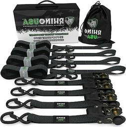 RHINO USA Ratchet Straps  1in x 15ft - 1,823lb Guaranteed Br