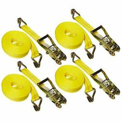 "4 Sets 27 FT Heavy Duty 2"" Ratchet Tie Down Strap 10000 Lbs"