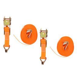 Set of 2 Heavy Duty 20 FT 25mm x 6m Polyester Ratchet Tie Do