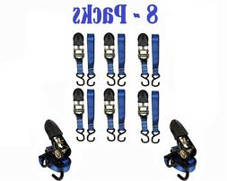 "Set of 8 Everest 1"" x 10' Blue Ratchet Tie Down Strap Motorc"