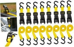 "Stanley S1000 Black/Yellow 1"" x 10' Ratchet Tie Down Straps"