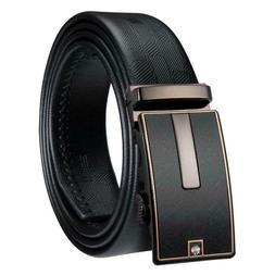USA Black Leather Mens Belt Automatic Buckle Ratchet Waist S