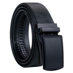 USA Ship Black Leather Mens Belts Solid Automatic Buckles Ra